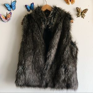 BB Dakota Faux Fur Dark Small Vest Pockets Revolve